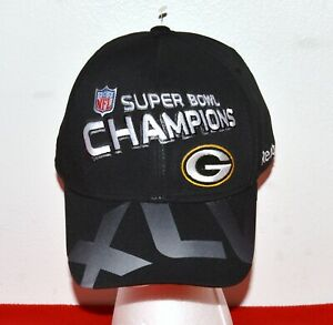 NFL Green Bay Packers Black Hat One Size Super Bowl Champions XLV Reebok OnField