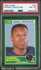 1989 Score Football #247 Donnell Woolford Chicago Bears RC Rookie PSA 8 NM-MT