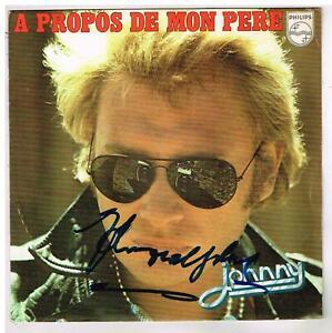 """Johnny  HALLYDAY    A propos de mon père     7"""" 45 tours SP  dédicacé"""