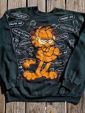 Vintage Garfield Sweatshirt All Over Print Freeze New York 1978 Green XL 70's