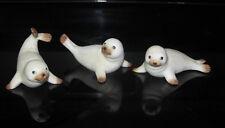 Set Of 3 Homco Baby Seal Pups # 1439 White Ocean Animals Mammals