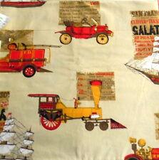 Indian Head Inc Cotton Fabric Vtg Transportation Cars Fire Engine Trains 4 yds