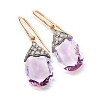 "Victorian 1.09 Ct Rose Cut Diamond Amethyst 925 Sterling Silver Long Earring 1"""