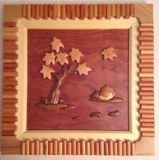 One Of A Kind Wooden Picture With Tree And House.