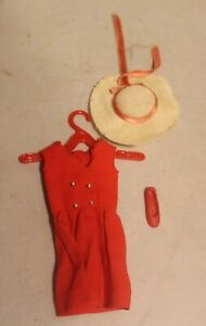 Vintage 1960's SKIPPER RED SENSATION Dress & Straw Hat w/Bow