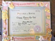 "Enesco Beautiful Beginnings Brand New Birth Certificate Frame Stork 11"" X 13"""