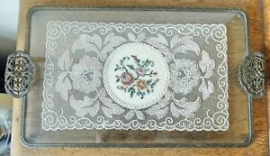 VINTAGE PETIT POINT LACE GLASS & ORMOLU Dressing Table GIN TRAY Filigree Handles