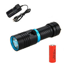 6000LM XM-L2 LED Scuba Diving Flashlight Fishing Torch Waterproof 120m 26650