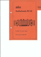 Braun Original Service Manual für Radiochassis RC 61