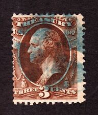US O74 3c Treasury Department Used Fine w/ Blue Iron Cross Fancy Cancel