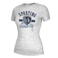 "Sporting Kansas City MLS Adidas Women's ""Retro Banner"" Distress Grey T-Shirt"