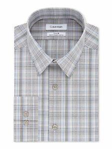 CALVIN KLEIN Mens Beige Plaid Collared Dress Shirt L 16.5- 34/35