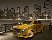 Framed Print - New York City Skyline with Yellow Taxi Cab (Picture Poster Art)