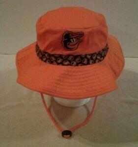 Baltimore Orioles Miller Lite orange bucket style hat with chin drawstring - NEW