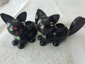 Vintage Wood German Cat Figurines Candle Holders Felix the Cat?