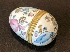 Halcyon Day Enamels Egg Shaped Stork Special Delivery Baby Blue Pink Trinket Box