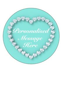 """Edible Icing Sheet PERSONALISED Tiffany Blue Diamond for 7-8"""" Circle Cake Topper"""