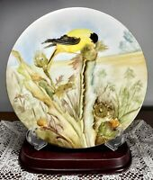 """ATQ 1894 D&C Limoges France Hand Painted Cabinet Plate Gorgeous Yellow Bird 8.5"""""""