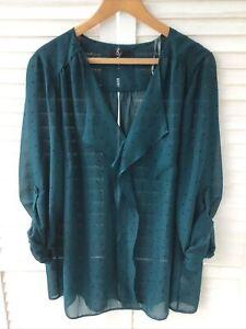 EVANS Size 22 Sheer Tunic Top Dark Green Black Spot Polkadot + Cami Blouse