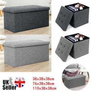 Folding Storage Box Linen Ottoman Footstool Pouffe Stool Storage Bench Bedroom Q