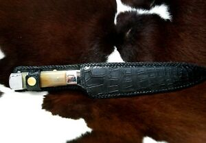 """COLLECTOR HUNTING KNIFE CAMEL BONE 9"""" STRAIGHT BLADE GENUINE CROCODILE POUCH"""