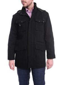 West End Black Wool Blend Men's Car Coat Winter Jacket w/ Removable Hood