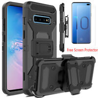 For Samsung Galaxy Note 10 9 S10 Plus Armor Clip Holster Case+Screen Protector