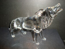 Genuine Handmade  Spun Glass ~Wolf~Figure~Ornament~Animal~Lge~Boxed~uk seller