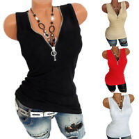 Womens Zipper V Neck Tank Top Summer Casual Slim Vest Blouse T-shirts Plus Size
