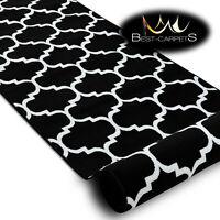 Modern Hall Carpet Runner BCF ANNA Trellis black Stairs 60-120cm extra long RUGS