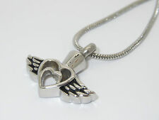 "CREMATION JEWELLERY URN PENDANT NECKLACE ""HEART WITHIN A HEART, ANGEL WINGS"""
