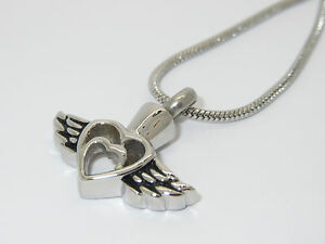 """CREMATION JEWELLERY URN PENDANT NECKLACE """"HEART WITHIN A HEART, ANGEL WINGS"""""""