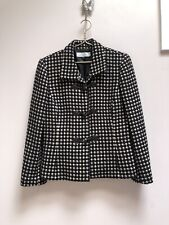Tahari Arthur S Levine Blazer Jacket Wool Size 14 Black Beige Dot Toggle Button