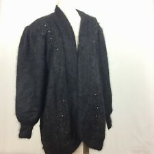Lee Sands Sweater Coat Angora Blend Fuzzy Open Front Lined Beaded Vintage