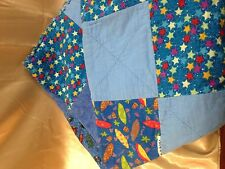 Handmade Blue Tiki Quilt Blanket Soft Fleece Surfboards Masks Insects Stars
