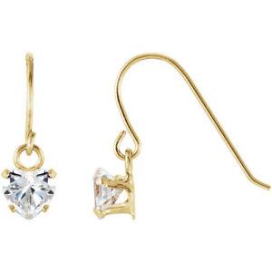 Heart Shape Dangle Youth Earrings In 14K Yellow Gold