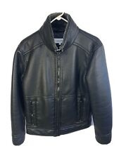 Mens Faux Leather Jacket - Calvin Klein | Size Small | Black Outerwear Coat Top