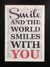Smile And The World Smiles With You Antique Dictionary Page Art