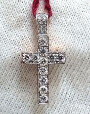 .50ct natural diamonds rounds cross necklace 14kt Petite Class