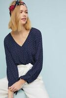 178057 New Anthropologie Maeve Pernille Tie-Sleeve Dot Printed Navy Blouse Top L