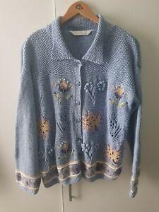Vintage Marks And Spencer Cardigan Blue Knit Size 16 18 Floral Cottagecore