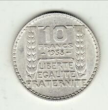 10 FRANCS TURIN ARGENT 1938 SUP  type turin argent cote 15 euro