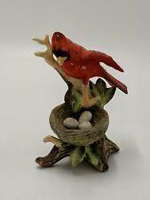 Mama Cardinal Bird Figurine 5.5 inch Ceramic Hand Painted Vintage