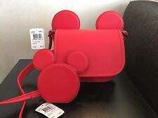 NEW! Disney x Coach Mickey Mouse Ears F59369 And Coin Purse F59071 Bright Red
