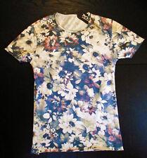 T-shirt uomo girocollo S-M-L-XL bianca fiori 100% cotone taglio vivo slim fit