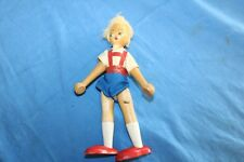"""Vintage Wooden Peg Doll 7"""" Jointed, Original Clothes"""