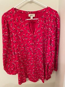 Style & Co Woman XXL Puff Sleeve Boho Peasant Red Floral