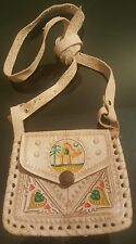 Moroccan leather purse/bag/coin purse with strap BEIGE