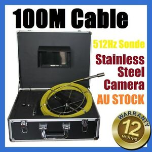 100M Snake Cable Under Water Sewer Drain Pipe Wall Camera w 512HZ Locator Sonde