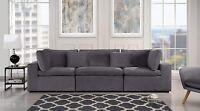 Large Classic Living Room Sofa, Plush Velvet 3 Seater Couch, Grey